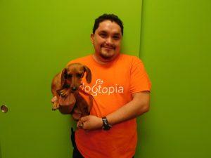 Jose Reyes (Playroom Attendant & Bather) holding Baylor, Mini Dachshund